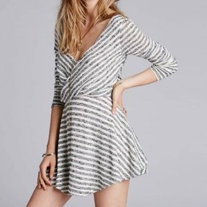 Free People Maverick Wrap Dress in Stripe Pattern